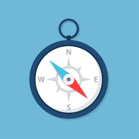 orientation: Compass icon in a flat style, isolated from the background. Concept icon navigation, terrain orientation or direction. Illustration