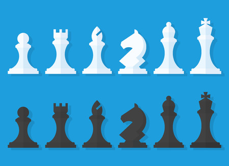 set of black and white chess pieces in a flat style isolated from the background. Chess pieces including the king, queen, bishop, knight, rook and pawn.
