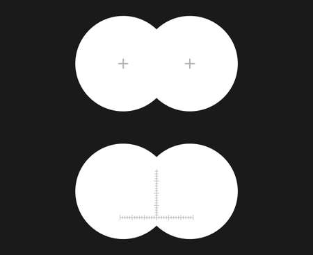 binoculars view: See binoculars, first-person or inside view illustration. A simple set of binocular sight with sharp edges and marks. Illustration