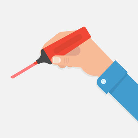 highlight: The hand holds a marker in illustration of a flat style. Write, underline or highlight something important marker. Hand with red marker.
