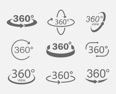 360 degree views of circle icons isolated from the background. Signs with arrows to indicate the rotation or panoramas to 360 degrees.