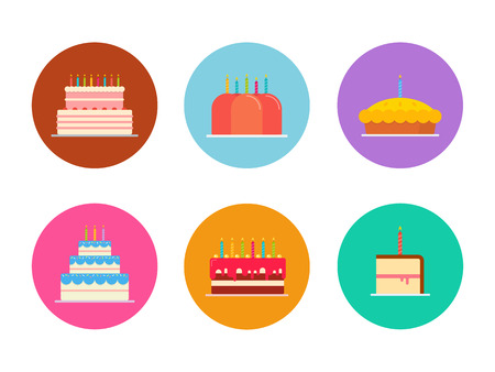 cake slice: Cakes and pies set isolated from the background in a flat style. Colorful Icons of Wedding cakes and birthday chocolate and fruit. Bakeries and confectionery products. Illustration