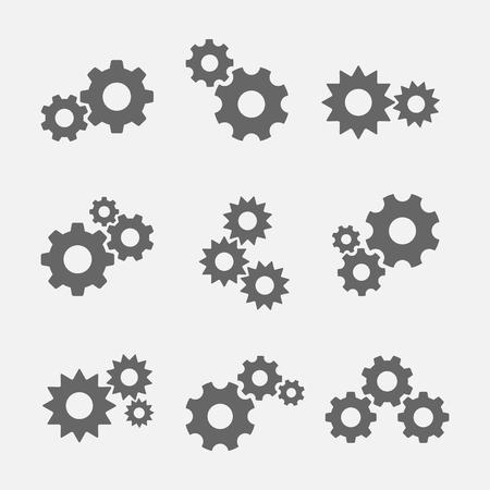 Ingranaggi con ingranaggi icone isolato dallo sfondo. icona ruota dentata come simbolo della meccanica, la tecnologia, l'industria.