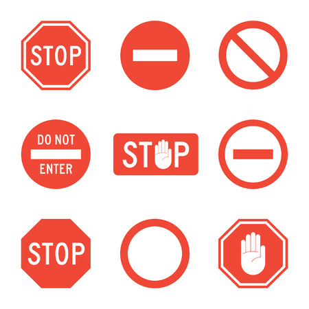 forbidding: Stop signs set of icons isolated from the background. Forbidding traffic or road signs in a flat style. Stop sign with the hand or palm.