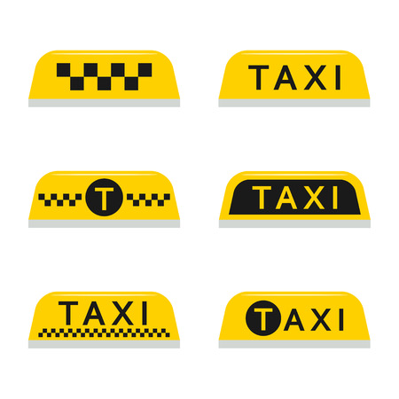 fare: Taxi light sign set isolated from the background in a flat style. Yellow taxi checkered lamp and text for car roof.