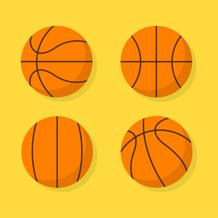 bounce: Basketball ball set isolated from the background. Colored icons basketball ball in different positions in flat style. Sports and fitness symbol.