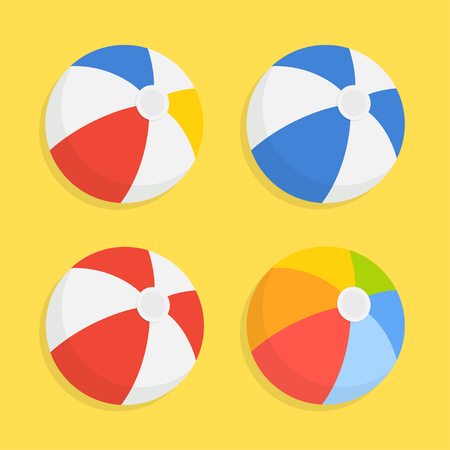 inflatable ball: Beach ball icon set isolated from the background. Striped colored inflatable beach balls in a flat style. The symbol of leisure and fitness. Illustration