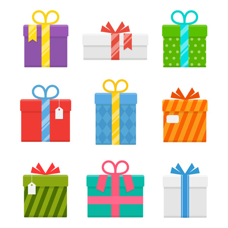christmas present box: Gift or present box with ribbon set of isolated from the background. Icons of gifts box for Christmas or a birthday party in a flat style. Illustration
