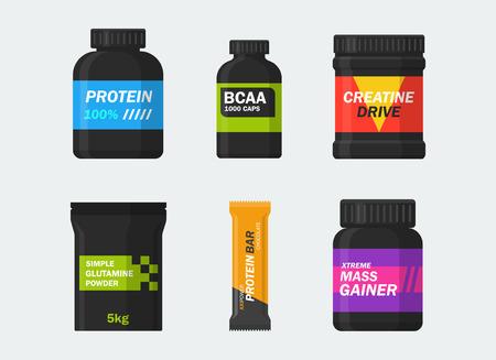 la nutrición y los suplementos de los deportes fijados aislados del fondo. barras de proteína iconos, BCAA, creatina, glutamina, Gainer y proteínas en un estilo plano. Símbolos de culturismo. Ilustración de vector