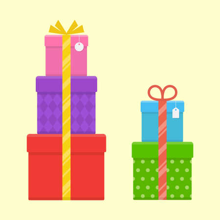 pillar box: A stack or tower of gift boxes set isolated from the background. Pile of three and two present boxes with bow and ribbon in a flat style.