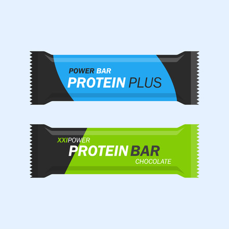 nutritional: Protein bar set isolated from the background. Energy or nutritional bar wrapped in a flat style. Sport and fitness supplements.