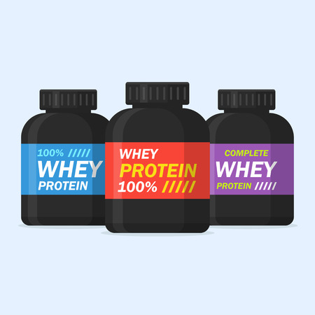 nutrition icon: Protein powder illustration, isolated from the background. Icon whey protein in black cans in a flat style. Symbol of sports nutrition or supplements.
