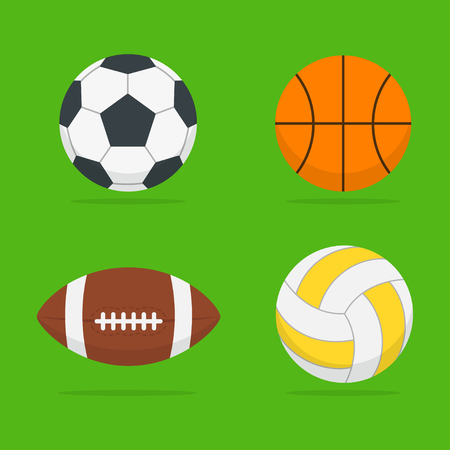 american sport: Sport balls set of isolated from the background. Icons football, basketball, volleyball and american football balls in the style flat. Symbols sports equipment. Illustration