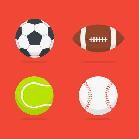 balones deportivos: Bolas del deporte conjunto de aislados del fondo. Iconos de fútbol, ??tenis, béisbol y pelotas de fútbol americano en un estilo plano. Símbolos equipos deportivos. Vectores