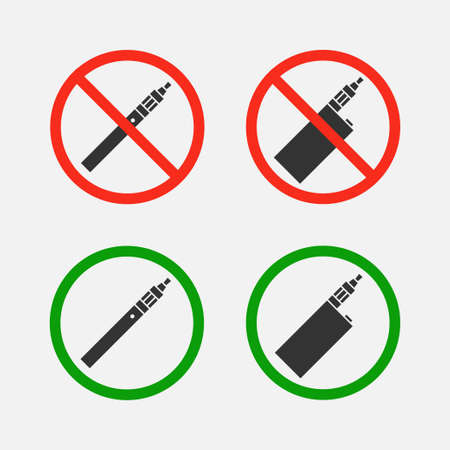 smoking ban: Yes and no signs vaping set isolated from the background. Symbols ban and permit smoking e-cigarettes. Characters smoking area.