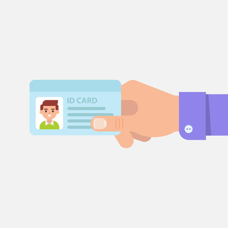 hand holding business card: ID or identity card in male hand isolated illustration in flat style. Mans hand holding or showing ID badge or driving license. Presenting business cards. Illustration