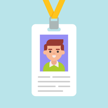 Id card icon in a flat style isolated from the background. Illustration of an identity card or badge for any events, conferences. Illustration