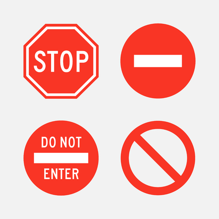 do not enter: Stop and  do not enter signs set of isolated from the background. Icons of street and road signs in flat style.