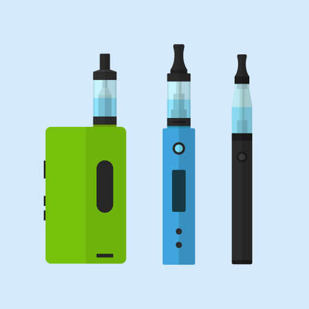 vaporize: Electronic cigarettes vector set isolated from the background. Icons vape devices in flat style. Colored vaping symbols.