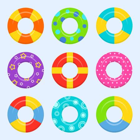 Gomma o set di anello gonfiabile isolato dal contesto. Icone colorate nuotare anello in un piatto stile. Simboli vacanza o vacanza. Vettoriali