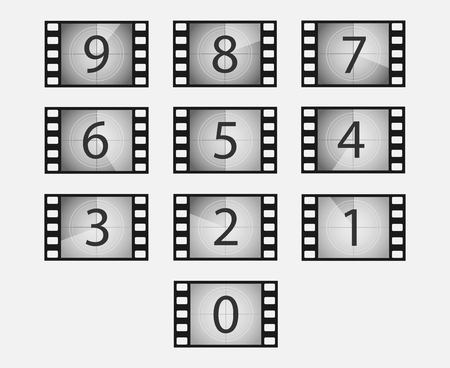 Old film or movie countdown vector set. Film frames with numbers isolated from the background. The countdown to the beginning of the video.