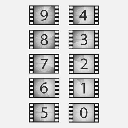 Wonderbaarlijk Oude Film Of Film Aftellen Vector Set. Filmbeelden Met Nummers TY-15