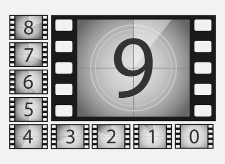 Movie countdown numbers vector set. The countdown to the start of the old film. The timer countdown cinema isolated from the background Çizim