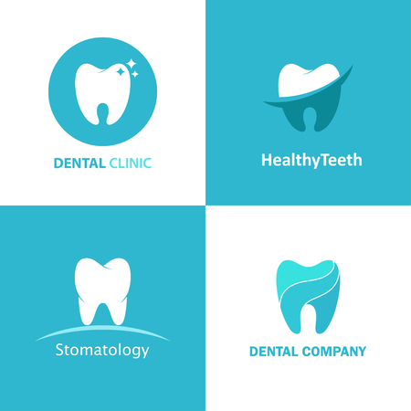 Logo dental clinic vector set. Design icons for dentist isolated from the background. Logo templates with teeth for stomatology.  イラスト・ベクター素材