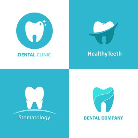dentist: Conjunto de la insignia del vector clínica dental. Iconos del diseño de dentista aislados del fondo. Logotipo de las plantillas con los dientes de la estomatología. Vectores
