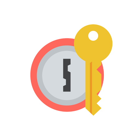 Door lock with key vector icon in a flat style. Concept security symbol, security or confidentiality. Round keyhole key isolated from the background. Sign lock password or code. Illustration