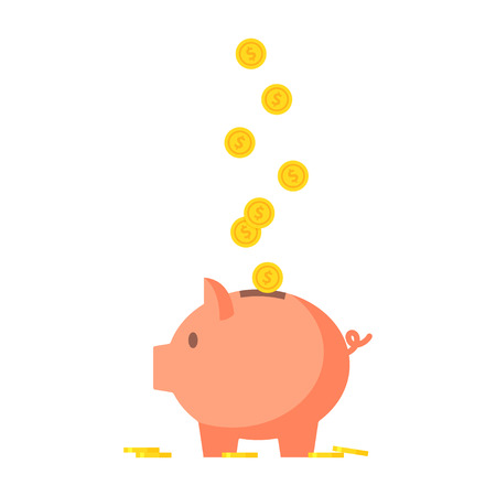 Pig piggy bank with coins vector illustration in flat style. The concept of saving or save money or open a bank deposit. The idea of an icon of investments in the form of a toy pig piggy bank. Stock Illustratie