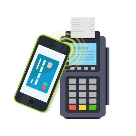 confirms: POS terminal confirms the payment made through mobile phone. Concept icons NFC payments in a flat style. Pay or making a purchase contactless or wireless manner. Mobile Banking and Payments.