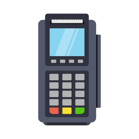 POS terminal vector icon in a flat style. Payment for purchases with a credit or debit card. Icon POS machine isolated from the background. Wireless or contactless payments.