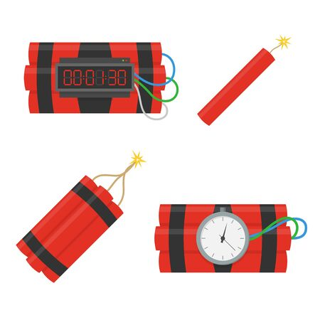 Dynamite bomb vector icons set in flat style. Installed a bomb with a timer, and a bunch of dynamite with a burning stick fitelem isolated from the background. Dynamite is going to explode or detonate.