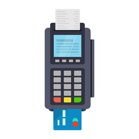 POS-Terminal-Vektor-Symbol in Flat, isoliert aus dem Hintergrund. Bezahlung mit POS-Maschinen für Kredit- und Debitkarten. Banking und Business Services. Standard-Bild - 69115602