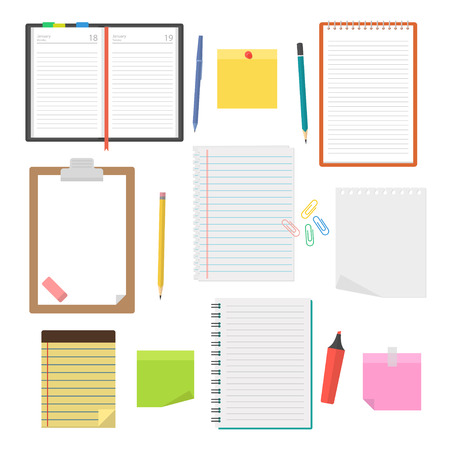 todo: Set of vector notebooks, diaries and sheets of paper to take notes, to-do lists, plans and drawing up the agenda. Collection of office supplies in a flat style isolated from the background.