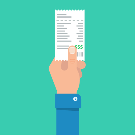 medical bills: Mans hand holds the account or bill for payment. Getting the bill for services rendered. Banking and business operations.