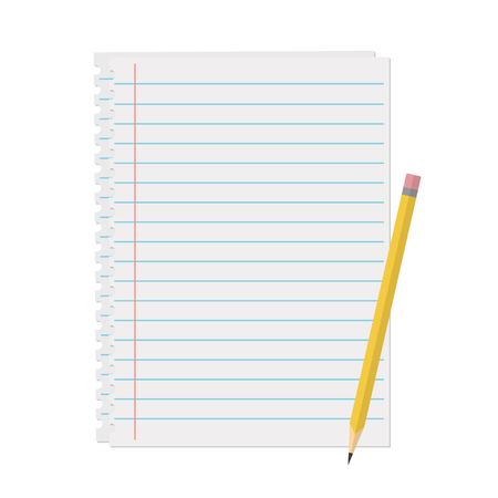 margins: Line a sheet of paper with margins vector illustration in flat style. Clean sheet of paper for notes, reminders, to-do lists and plans. Office and business supplies.
