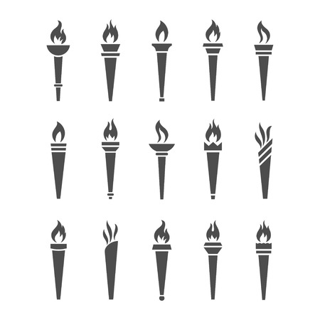Icons torch with flame isolated vector set. The symbol of victory, success or achievement. Silhouettes of various medieval flaming torches.