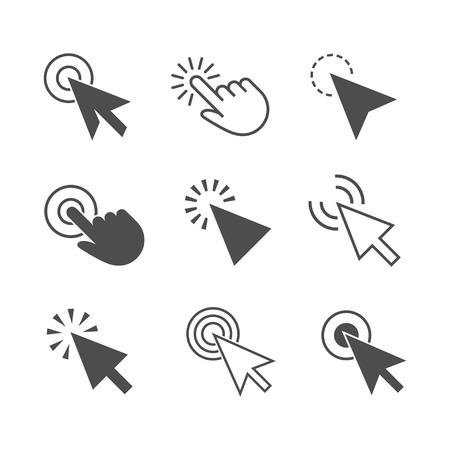 Clicks cursor or pointer vector icon set. Press or click the button, link, or