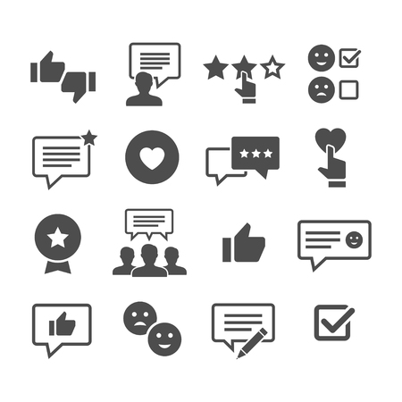 Customer reviews vector icon set. Feedback and user experience of clients. Loyalty and testimonials from users.