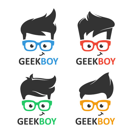 オタクのロゴ ベクトルを設定します。メガネ漫画顔のスマート少年。教育、ゲーム、技術または科学的なアプリケーションおよびサイトのアイコン