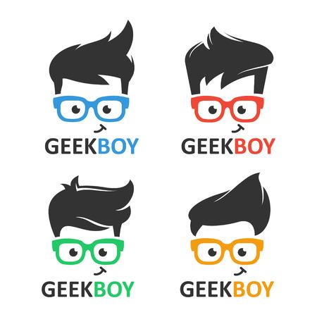 Geek oder Nerd-Logo-Vektor-Set. Cartoon Gesicht smart Junge mit Brille. Icons für Bildung, Spiele, technologische oder wissenschaftliche Anwendungen und Websites. Logo