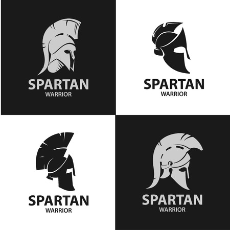 Greek and Roman warriors helmets. Silhouettes of gladiatorial combat hats. Isolated Spartan soldiers helmets.