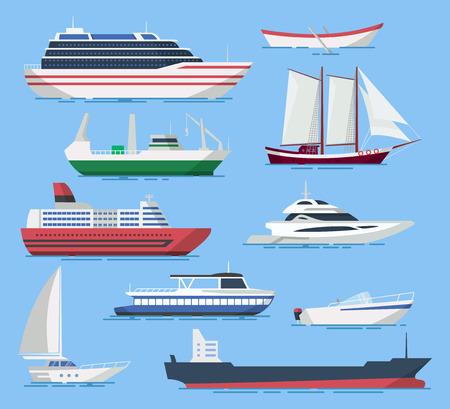 Navi e imbarcazioni vettoriali in uno stile piatto. Illustrazione delle navi passeggeri e da carico in mare. Icone di navi marittimi e fluviali isolati dallo sfondo.