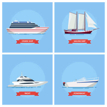 sea transport: Ships and boats vector set icons in a flat style. Cruise ship, boat, sailboat, powerboat. Sea and river transport.