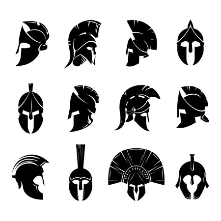 Silhouettes spartan helmet isolated from the background. Vector set of roman or greek warrior helmet. Helmets spartan soldiers in the side and front view. 矢量图像
