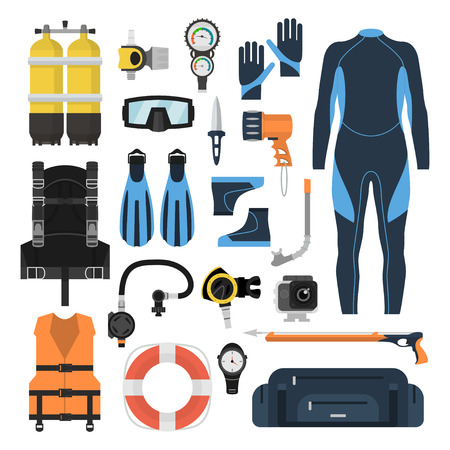 tanks: Equipment for diving in a flat style. Icons diving suit, an underwater mask, snorkel, fins and aqualung. Scuba gear and accessories.