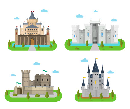 Old medieval forts and king strongholds in a flat style. Cartoon fairy-tale palaces and kingdoms.
