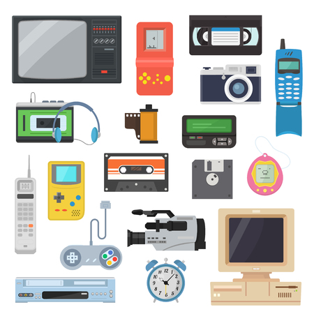 Icons of gadgets of the 90s in a flat style. Retro game console, camera, video cassette, player, vintage TV, pager and other electronics. A set of hipster gadgets.